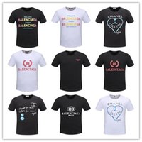 Wholesale mens round neck t shirt - Mens tshirt 2018 summer strip print men's t-shirt round neck tshirt luxury t-shirt Men's Luxury Brand Designer High Quality T-shirt