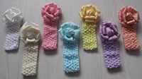 flores de crochet para faixas de bebê venda por atacado-20 pcs 8 cm headband de crochê flores para meninas acessórios para o cabelo, headbands de flores de tecido, headbands do bebê, meninas headband
