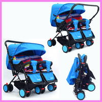 Wholesale kinderwagen stroller - Twins Baby Stroller 2 In 1 Can Sit Lie Two-way Push Reverse Handle Kinderwagen Double Stroller for Twins Folding Umbrella Pram