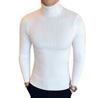 suéter casual slim fit para hombre al por mayor-Cuello alto de invierno grueso suéter caliente hombres cuello alto de la marca para hombre suéteres Slim Fit Pullover Hombres prendas de punto para hombre cuello doble