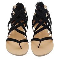 Wholesale black roman gladiator sandals - Hot sale Flat Heel Clip Toe Hollow Out Roman Sandals Flip Flops Beach women Hot Sale Summer Plus Size Female 3 colors