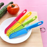 Wholesale Chinese Knives Wholesale - Candy colored fruit knife Stainless steel fruit peeler Kitchen gadget Portable scissors with a knife and sheath