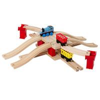 trilhas de trens de madeira venda por atacado-13 pçs / set Clássico de madeira crianças brinquedos Thomas e Amigos Comboio Ferroviário Trilha estilo Europa Ponte slot combinação