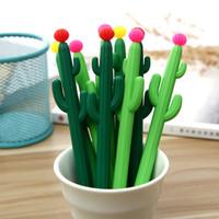 ingrosso succulente-2pcs Penna Gel Cactus Creativo Cute Kawaii Piante Grasse Nero Signing Pen Studente di Cancelleria Canetas Criativa