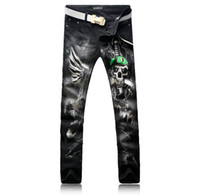 Wholesale jeans skulls - Hot Sale Fashion Men's Jeans Human Skeleton Skull Snake and Aliens Printing Street High Quality Male Jeans Trousers Men's Size 28-38