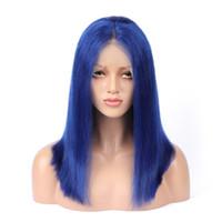 12-дюймовый полный парик шнурка бразильский оптовых-Полные парики человеческих волос шнурка голубые красочные парики для женщины пре сорвал с волосами младенца бразильский Реми парики человеческих волос длина 10 -- 24 дюйма