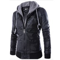Wholesale Leather Coat Hood Men - Wholesale- New Fashion Mens Hooded Leather Jackets and Coats PU Leather Casual Black M-XXL Men's Motorcycle Leather Jacket Male with Hood