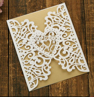 chinese red envelope wholesale 2018 - 2018 Laser Cut Flower Wedding Invitation Cards Personalized Hollow Wedding Party Printable Invitation Cards Ribbon with Envelope Sealed Card