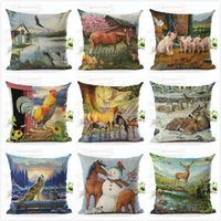 funda de almohada animales al por mayor-Chunky Square Pillowslip Impreso Animales Caballo Patrón Decorativo Throw Pillow Case Artístico Sofá Volver Funda de cojín Lavable 4 8qj BB