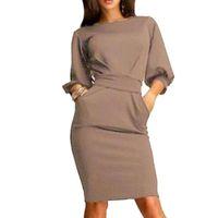 ingrosso linea di vestiti per ufficio-Hot 2019 Summer Work Office Dress Mezza manica O-Collo Elegante Ladies Bodycon Bandage Slim abiti da festa Abiti Plus Size