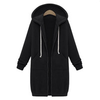 fermuarlı hoodie giyim eşyası hoodies sweatshirt toptan satış-2018 Hırka Kazak Harajuku Kadınlar Uzun Hoodies Fermuar Kapşonlu Kazak Sonbahar Kış Coat Kabanlar Casual Kadın Ceket Indirim