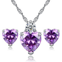 Wholesale ruby diamond pendant gold - Zircon Crystal Jewelry Sets Fashion Heart Pendants Necklaces Stud Earrings White Gold Plated Ruby Jewelry Sets For Women