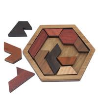 деревянные геометрические головоломки оптовых-Забавные головоломки дерево геометрическая аномалия форма головоломки деревянные игрушки Tangram / Jigsaw доска дети дети развивающие игрушки для мальчиков