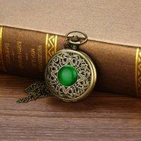 zodyak cep saati toptan satış-Yeni Vintage Bronz Zodyak Kolye Cep Kuvars Pocket Watch Necklace10.3