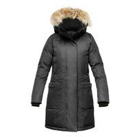 casacos de raccoon para mulheres venda por atacado-Das mulheres longas Jacket Top Quality Canadian Women Windbreaker real Raccoon Fur Collar capa Plus Size Brasão Ladies Blazer