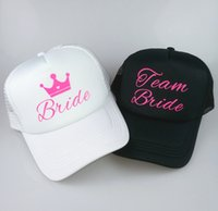 Women Men Baseball Cap Bride Groom Squad Team Mesh Gold Foil Print Hen Party Hat