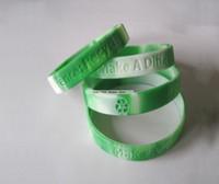 ingrosso bianco braccialetti personalizzati-Braccialetti in silicone economici sezionali verdi bianchi del silicone di trasporto libero del DHL Logo Braccialetti di gomma di promozione incisi su ordinazione