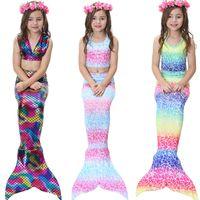 nadar para crianças venda por atacado-Crianças Meninas 3 Pcs Sereia Cauda Natação Bikini Set Swimwear Mono Fin Swimmable