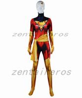 red lycra spandex zentai anzug großhandel-Red Dark Phoenix Cosplay Kostüm X-Men Phoenix Superhero Body 3D Drucken Lycra Spandex Zentai Halloween-Party-Anzug