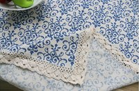 Wholesale Waterproof Cotton Tablecloth - Retro Blue and White Table Cloth with Lace Cotton Print Chinese Style Rectangular Dinning Tablecloths Cover Home Decor