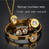 pulsera dubai al por mayor-Marca de acero inoxidable Dubai CZ anillo pulsera aretes collar conjunto oro rosa Color CZ piedra conjunto de joyas para mujeres
