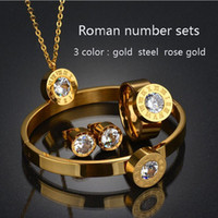 браслет dubai оптовых- Stainless Steel Dubai 7 Color CZ Ring Bracelet Earrings Necklace Set Rose Gold Color CZ Stone Jewelry Set for Women