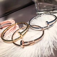 Wholesale trend nails - Fashion trend of European and American street nail bracelet titanium steel high quality color woman wild bracelet