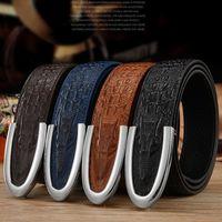 Wholesale U Double - Hello guoguo Men belt Genuine leather Crocodile designer belts Crocodile pattern Hide security U buckle Strap Christmas Double g