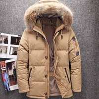 ingrosso grande cappotto di pelliccia-2018 nuovo Inverno Big Genuine Fur Hood Duck Down Giacche Uomo Caldo di alta qualità Giù cappotti maschili casual Inverno Outerwer Parka