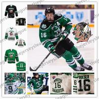 yeşil hokey mayo satışı toptan satış-NCAA Kuzey Dakota Sioux Mücadele Sıcak Satış # 16 Brock Boeser 19 Shane Gersich 28 Hayden Shaw Dikişli Siyah Yeşil Beyaz Hokeyi Formalar