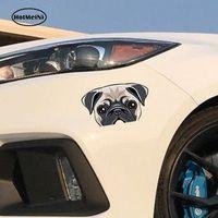 Wholesale custom die cuts - HotMeiNi 13cm x 7.6cm Car Styling Pug Face Dog Die Cut Custom Printed Sticker Decal Car Truck Window Door Graphic Waterproof