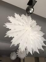 Wholesale paper cut outs - 5pcs 40cm  50cm Tissue Paper Snowflake Fans Party Decorations Large Cut -Out Paper Fans Hanging Christmas Decoration For Party