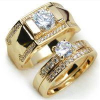 venda de anel de diamante banhado a ouro venda por atacado-Venda quente Banhado 18 k anel de casal de ouro amarelo Europeu e americano moda zircão embutido anel conjunto de anéis de diamante dos homens