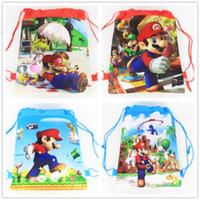 mario bros partisi toptan satış-Toptan-Süper Mario 24 adet cadılar bayramı Dekorasyon Çocuklar Doğum Günü Partisi Şekeri Mario Bros İpli Çanta Dokunmamış Kumaş Sırt Çantası Malzemeleri