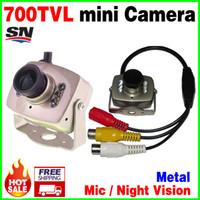 Wholesale smallest hd cctv camera - Very mini! 6Led Night Vision HD cmos 700TVL small CCTV Camera AV Audio MIC Metal monitoring products Surveillance micro vidicon