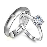 sonsuzluk elmas yüzük toptan satış-Çift gümüş yüzükler öğeleri kristal takı çift açık yüzükler etnik vintage elmas infinity charms
