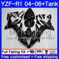 yamaha yzf r1 negro al por mayor-Cuerpo + tanque para YAMAHA YZF R 1 YZF-1000 YZF 1000 YZFR1 04 05 06 232HM.0 YZF1000 YZF-R1 04 06 YZF R1 2004 2005 2006 Fábrica de carenado Brillo negro