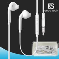 caja de paquetes de auriculares al por mayor-Promoción de la fábrica de calidad estéreo premium para Samsung S7 S6 S6 Edge Auriculares ergonómicos auriculares de 3.5 mm Caja de embalaje (blanco) EO-EG920LW