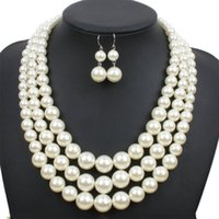белые серьги из жемчуга оптовых-Big Size white/red/brown Simulated-pearl African Jewelry Sets 3 Layer Pearl Necklace Earrings Set Long Necklace  Jewelry
