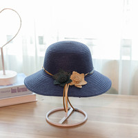 Wholesale grass shades - Sunscreen Big Eaves Straw Hat Cortex Two Small Flowers Lady Outdoors Vacation Hats Fashion Sun Shading Cap 8 8hb cc