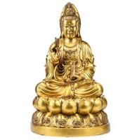 kwan heykeli toptan satış-Tibet Budizm Bronz Lotus Tanrıça GuanYin Vazo Kwan-Yin Buda Koltuk Heykeli