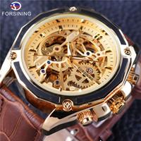 correa de cuero marrón reloj de lujo al por mayor-Forsining Transparente Lujo Gear Steampunk Brown Cinturón de cuero genuino Movimiento de oro dentro de automático automático de pulsera de reloj