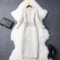 Wholesale Two Piece Dresses Diamond - Winter and spring women's long one-piece dress coat,New classical homespun Round collar Slim one piece dress with diamond mounted