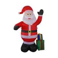 aufblasbare im freienweihnachtsdekorationen großhandel-1,2 Meter Aufblasbare Weihnachtsmann Im Freien Dekorationen Für Hausgarten Dekoration Frohe Weihnachten Heißer Verkauf 68qy Ww
