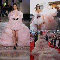 Wholesale amazing party dresses - Amazing Pink Multi-Layer Prom Dresses High Low Tiered Court Train Celebrity Evening Gowns With Black Bow Custom Made Soft Tulle Party Dress