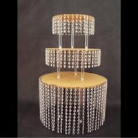 merkez kristaller toptan satış-3 katmanlı Yuvarlak Kristal Akrilik Düğün Pastası Tepsi Standı Düğün Centerpiece Düğün Pastası Ekran kek panTable Centerpiece