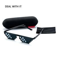coussinets pour lunettes achat en gros de-Deal With It Lunettes De Soleil Hommes Thug Life Glasses Femmes 2017 Vente Chaude Plus La Taille Minecraft Polygonal 8 Bits Style Pixel Avec Nez Pad