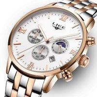 мужские спортивные часы оптовых-Топ бренд роскошные мужские часы фазы Луны полные стальные часы человек бизнес мода кварцевые часы мужчины Спорт на открытом воздухе watchs