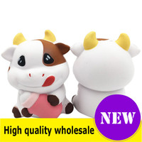 Wholesale cow cartoon toys online - Squishy cow high quality Jumbo Slow Rising Soft Oversize Phone Squeeze toys Pendant Anti Stress Kid Cartoon Toy Decompression Toy