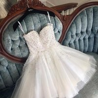 Wholesale pearls cocktail dresses - 2018 Beaded Pearls White Homecoming Dresses A Line Spaghetti Straps Mini Short Prom Gowns Cocktail Gowns BA9389